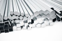 Stack of Stainless steel profiles and tubes of various diameters. Different metal products. 3d illustration. Stack of Stainless steel profiles and tubes of Royalty Free Stock Image