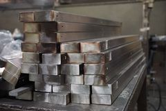 Stack of stainless steel square tube Stock Image