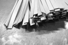 Stack of steel flat bar Royalty Free Stock Images