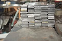 Stack of steel flat bar Stock Photo