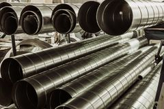 Stack of steel or metal pipes as industrial background royalty free stock photos