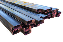 Stack of steel metal pipes Stock Images