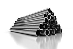 Stack of Steel Pipes Royalty Free Stock Photos