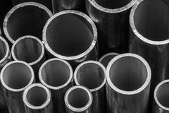 Stack of steel pipes. Royalty Free Stock Photo