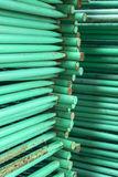 Stack of steel pipes Royalty Free Stock Images