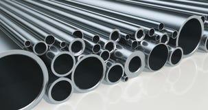 Stack of steel pipes, loop animation. 3D rendering stock footage