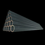 Stack of steel pipes. Stack of steel metal pipes. 3d render on black Royalty Free Stock Images