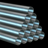 Stack of steel pipes. Stack of steel metal pipes. 3d render on black Stock Photos