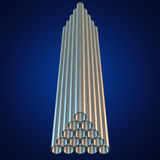 Stack of steel pipes. Stack of steel metal pipes. 3d render on blue. Business industry concept Stock Photos