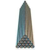 Stack of steel pipes. Stock Photo