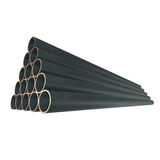 Stack of steel pipes. Royalty Free Stock Photography