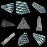 Stack of steel pipes. Stack of steel metal pipes set. 3d render on black Stock Image