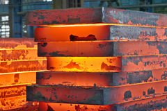 Stack of steel plate. Inside of plant Royalty Free Stock Photo
