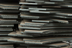 Stack of steel plates Stock Photo
