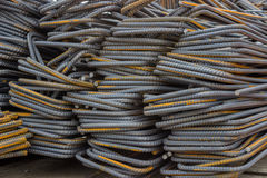 Stack of steel reinforcement bars background Royalty Free Stock Photos