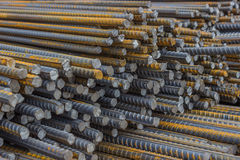 Stack of steel reinforcement rods background Stock Image