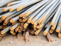 Stack of steel reinforcement rods for construction, background. Selective focus royalty free stock photo