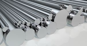 Stack of steel round bars, loop animation. 3D rendering stock video