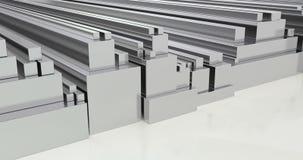 Stack of steel square bars, loop animation. 3D rendering stock video