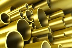 Stack of steel tubing. 3d rendering Royalty Free Stock Photos