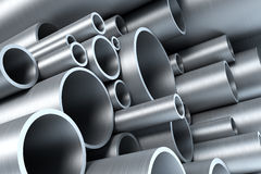 Stack of steel tubing. 3d rendering Royalty Free Stock Photo
