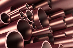 Stack of steel tubing. 3d rendering Stock Image