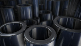 Stack of steel tubing 3d rendering. Stack of steel pipes with reflections. 3d rendering Stock Photos