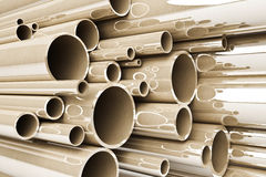 Stack of steel tubing, stainless tubes Royalty Free Stock Images