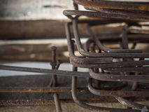 Stack of Stirrup for beam reinforced steel Stock Photos