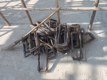 Stack of Stirrup for beam reinforced steel Royalty Free Stock Photography