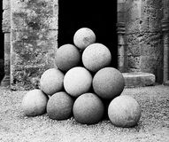 Stack of Stone Missiles. A stack of stone missiles that were once fired from catapults into the city of Rhodes during a siege. (Scanned from black and white film Stock Photo