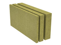 A stack of stone wool insulation. High-quality rendering stack of insulation from stone wool isolated on a white background Stock Photos