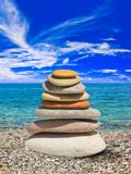 Stack of stones on beach Stock Image