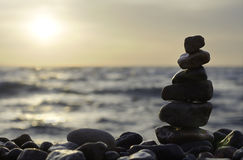 Stack of stones on beach. Royalty Free Stock Images