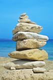 Stack of stones on a beach Royalty Free Stock Photo