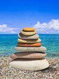Stack of stones on beach Royalty Free Stock Photography