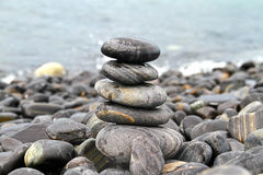 Stack of stones on beach Royalty Free Stock Photo