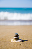 Stack of stones on beach Royalty Free Stock Images
