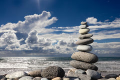 Stack of stones on the beach Royalty Free Stock Images