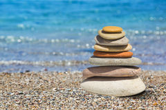 Stack of stones on beach Stock Photography