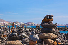 Stack of stones on beach Royalty Free Stock Photos