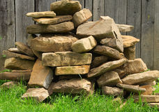 Stack of stones. On the grass Stock Photo