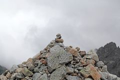 Stack of stones in the mountains Royalty Free Stock Photo