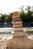 A stack of stones near the water Royalty Free Stock Photography