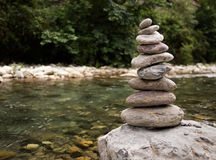 Stack of stones, pebbles,balanced by river Stock Photo