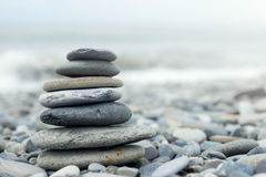 Stack of stones on a seashore Royalty Free Stock Image
