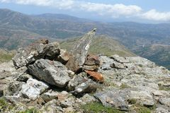 Stack of stones - Way from Punta la Marmora - Gennargentu National Park Stock Image