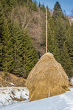 Stack of straw. In Romania Stock Photography