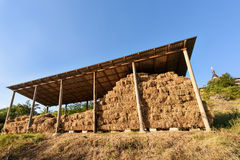 Stack of straw with roof near a church in Moldova Royalty Free Stock Images