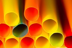 Stack of straws. Stack of colorful straws showing straw end Stock Image